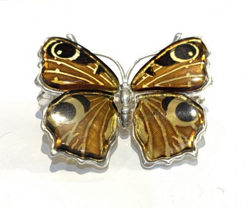 Sterling Silver Amber Butterfly Brooch